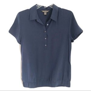 Tommy Bahama Blue Silk Short Sleeve Golf Shirt
